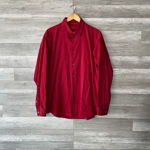 Alfani Button Up long Sleeve Shirt Red Stretch